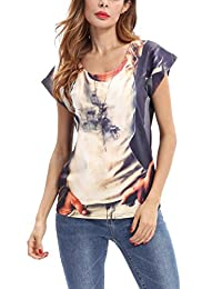 Stylish Short-Sleeve Round-neck T-Shirt Printing Tops Blouse