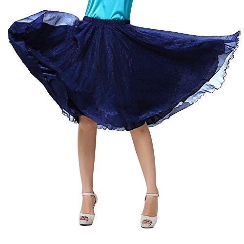 OCHENTA Femme Jupe Basic A Genou Casual En Mousseline de Soie Skirts Bleu Marin