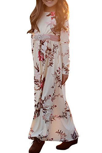 Syktkmx Girls Floral Maxi Dress Casual Princess Long Sleeve Pleated Swing Holiday Dress, White, 5-6 (Toddler Holiday Dresses)