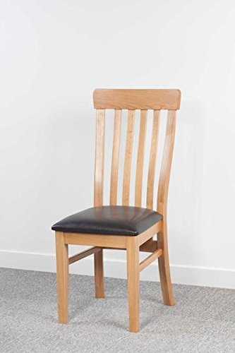 Devon Solid Oak Curved Back Dining Chair With Faux Leather Seat / Fully  Assembled Solid Wood