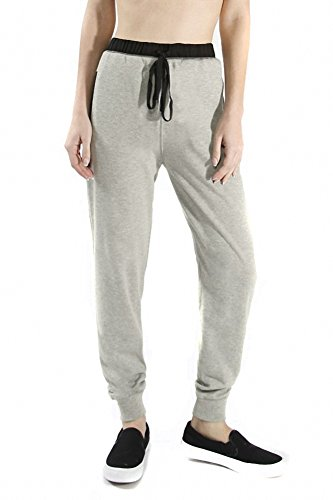 Sassy Apparel Women's Active Wear French Terry Jogger Pants with Drawstring (Medium, Oatmeal)