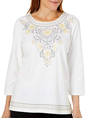 Alfred Dunner Women's Native New Yorker Embellished top (Petite Large) White ()