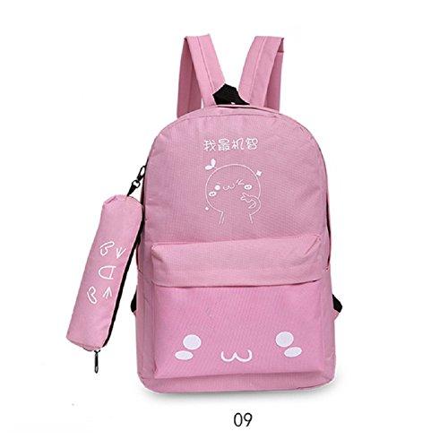 Espeedy Mujer coreana viaje mochila con estuche de lápiz de nylon dibujos animados de impresión damas bolsas de hombro niñas Escuela de estudiantes bolsa 9