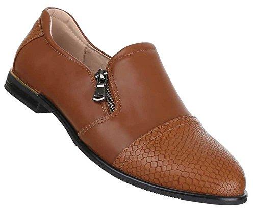 Damen Schuhe Halbschuhe Strech Ballarinas Stiefeletten Übergrößen 41-44 Camel