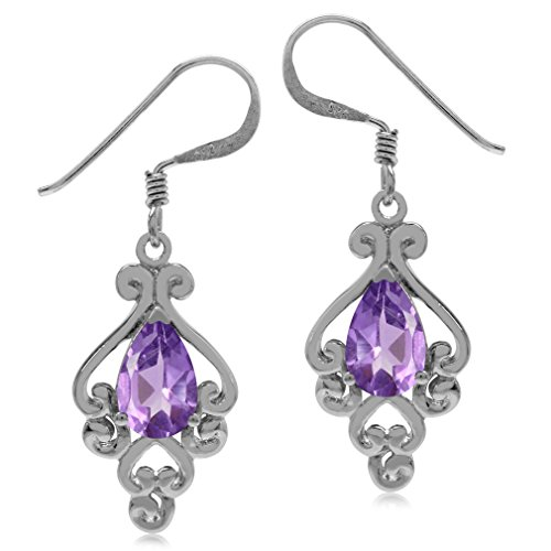 1.4ct. Natural African Amethyst 925 Sterling Silver Victorian Style Dangle Earrings (Victorian Style Amethyst Earrings)