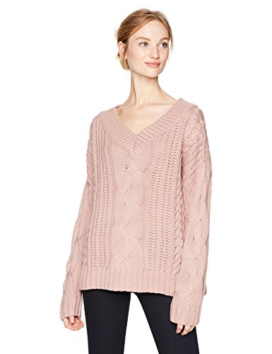 Ladies V-neck Cable - Moon River Women's V Neck Cable Sweater, Pink, Large