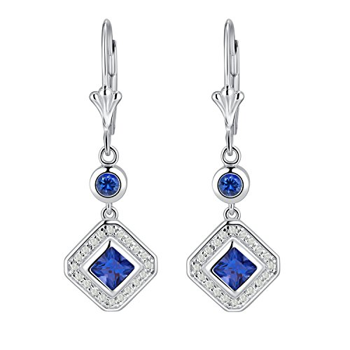 Sterling Silver Princess Cut Pink and Blue Cubic Zirconia Leverback Drop Earrings ()