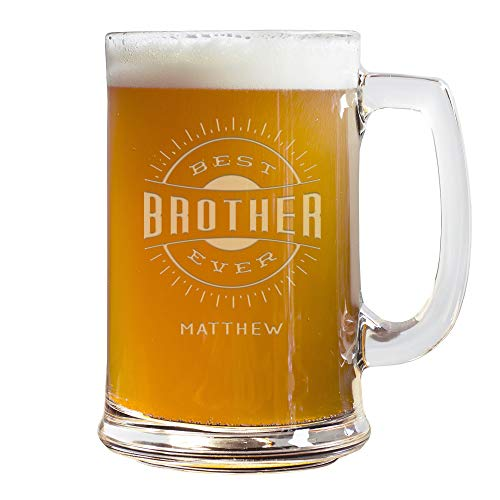 Personalized Best Brother Ever Beer Stein, Custom Etched 15 Ounce Beer Stein, Gift For Brother, Christmas Gift Idea for Brother