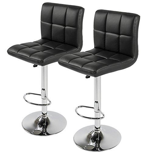 LTL BlackSet of 2 PU Leathe Barstools Chair Adjustable Counter Swivel