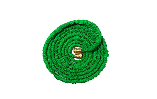 50ft Expandable Garden Water Hose with Strong Brass Connections - Works Best with the Free 7 Pattern Spray Nozzle Gift(included) By JFSG Outdoor - compact for RV, Boat, Truck, Car