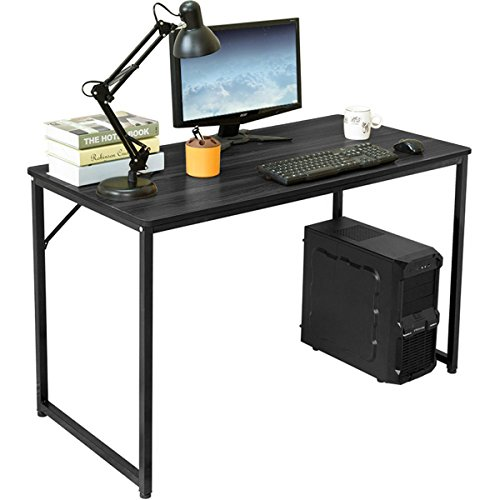 Modern Home Computer Desk Simple Study Desk Industrial Style Folding Laptop Table For Soho Office Notebook Desk(BLACK,47in) by H&A