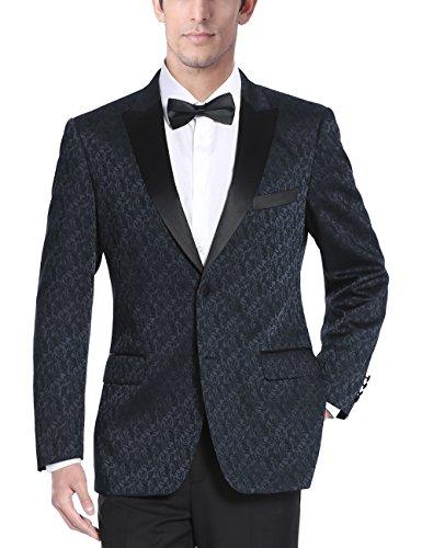 Chama Mens Two Button Navy Blue & Burgundy Textured Tuxedo Dinner Jacket Blazer with Satin Peak Lapel (Navy Blue, (Textured Suit Jacket)