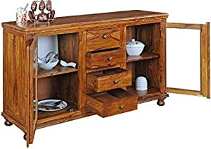 Shilpi Handicraft Solid Wood Cabinet Crockery Unit Wardrobe Without Glass Door & Drawers for Living Room (Brown)