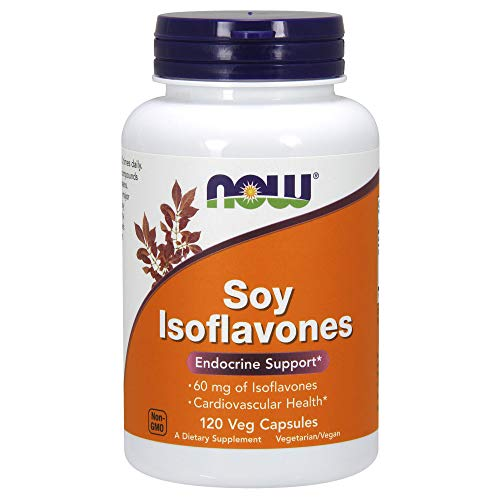 Menopause Soy Isoflavones - NOW Supplements, Soy Isoflavones, 60 mg (Plant Compounds Particularly Concentrated in Soybeans, like Genistein, Daidzein and Glycitein), 120 Veg Capsules