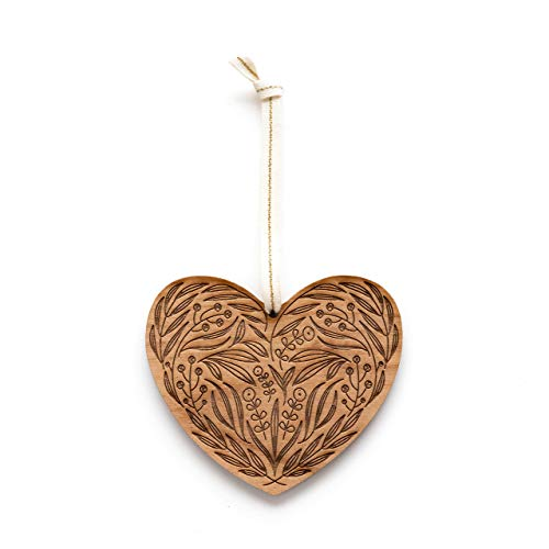 Floral Heart Laser Cut Wood Ornament (Christmas/Holiday/Love/Anniversary/Newlyweds/Keepsake) -