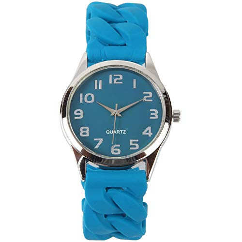 Trenton Gifts Perfect Fit Women's Easy Read Silicone Stretch Watch | Navy Blue ()