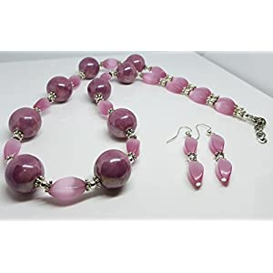 Pink Shiny Round Ceramic Beads/Silver Plated Metal Dot Rondelles/Silver Plated Metal Beads/Pink Cats Eye Glass Twist Beaded Duo Set