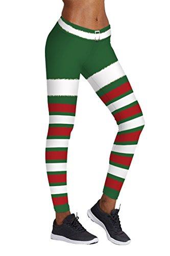 COCOLEGGINGS Womens Colorblock Stripes Ankle Length Christmas Leggings (L/XL) ()