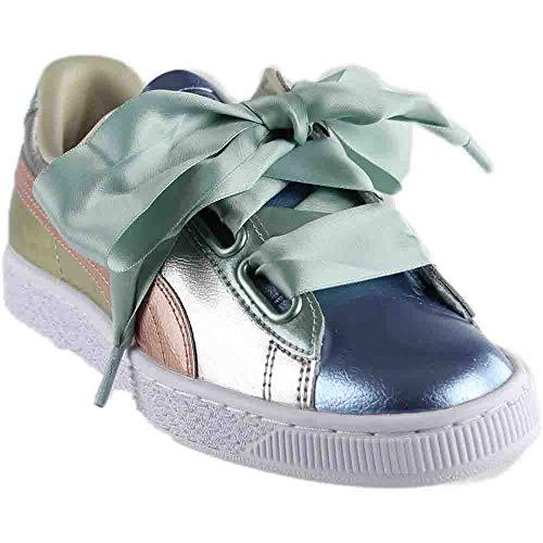 - PUMA Women's Basket Heart Bauble Sneakers, Silver, 7.5 B(M) US