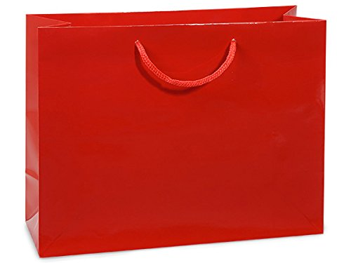 Red Gloss Medium Gift Bags 100 13x5x10'' (Unit Pack - 100)