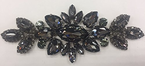 ModaTrims Sew-On or Glue-On Black Crystals on Black Metal Applique for Bridal and Costume Accessory (Black Crystals, Black Frame, 5.5 inch x 2 inch) - - Metal Appliques