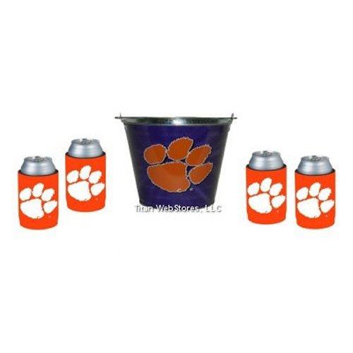 Clemson Ice Bucket (NCAA Clemson - Beer Bucket & Neoprene Can Insulator (4) Set | Clemson Tigers Beer Bucket Gift Set)
