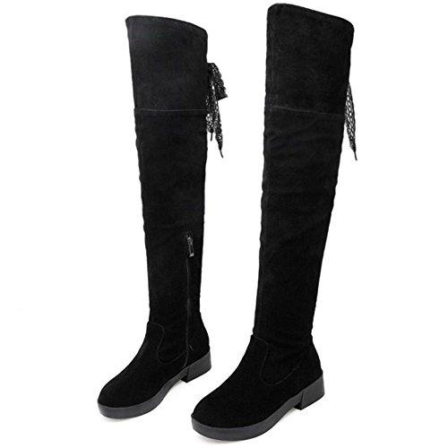 schnüren Dekor RAZAMAZA Casual Faltbare Frauen Schwarz Kniehohe Stiefel 1q7AOX