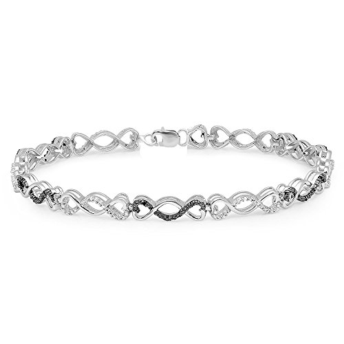 0.24 Carat (ctw) Sterling Silver Black and White Diamond Ladies Infinity Tennis Link Bracelet