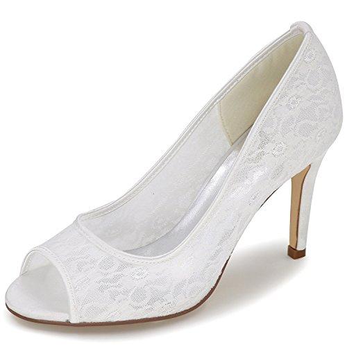 Elobaby Tacco Scarpe 42 da Party Elegante Size White Pizzo Toe da Donna Sposa 35 Elegante Peep di Classe 9cm Zaarqdw