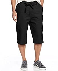Sean John Men's Drawstring Linen-Blend Shorts (34, Titanium)