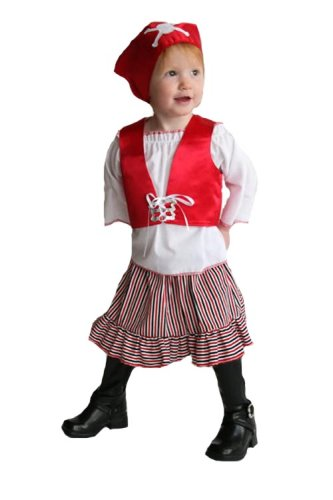 Pirate Baby Girl Costumes (Mullins Square Girl Pirate Baby Costume, Red/Blue - 6-18 Months)