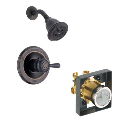 Delta Delta KSDLE-T14278H2O-H778-RB Leland Shower Kit Pressure-Balance Single-Function Cartridge with Metal Lever Handle, Venetian Bronze Venetian (Delta Leland Shower Faucet)