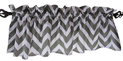 Gray Curtain Valance for Windows – Crabtree Collection – Noble Grey Chevron (16 x 60)