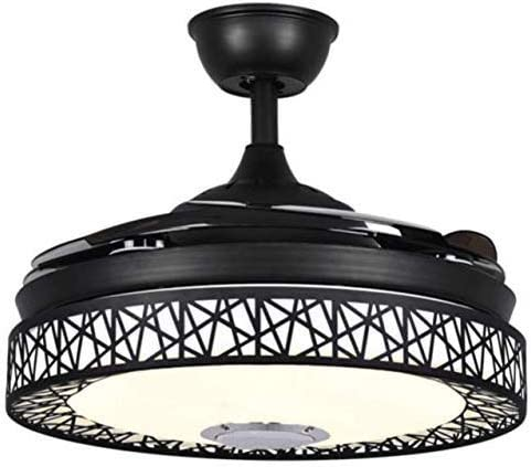 Sweety House 42 Bluetooth Music Ceiling Fan Ceiling Light, Multi-Function Remote Control LED Stealth Retractable Blade Adjustable Tri-Color Light and 3 Wind Speed Deco 42 inches-black