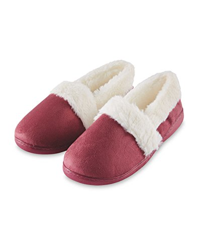 City Outlet Ladies Womens Girls Warm Faux Suede Leather Fur Lined Fluffy Comfortable Comfy Slippers Soft Plush Style Pull Slip On Indoor Home House Shoes w/Non Slip Grip Sole Size 4 5 6 7 Burgundy Fur ksTKFgTzx