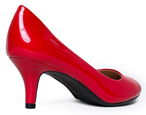 Pump Women's Dress Red Classic Heel Sale Comfortable Casual Closed Heeled Patent Kitten Party high Toe Mid Pumps Work cBFXSBrq