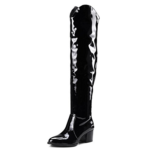 (Shoe'N Tale Women's Low Block Heel Over The Knee High Pointy Toe Patent Leather Boots (9 B(M) US, Black) )