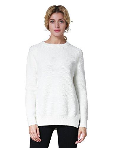 ninovino Women's Crewneck Solid Color Side Slit Pullover Tops White-S