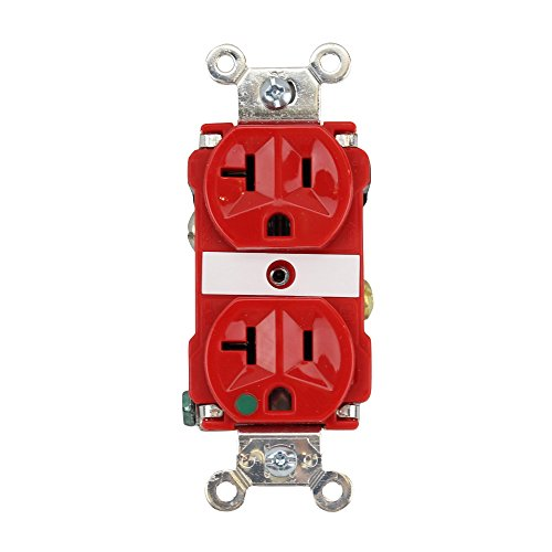 Hospital Grade Receptacle (Pass & Seymour 8300-RED Duplex Receptacle 20A 125V Hospital Grade, Red)
