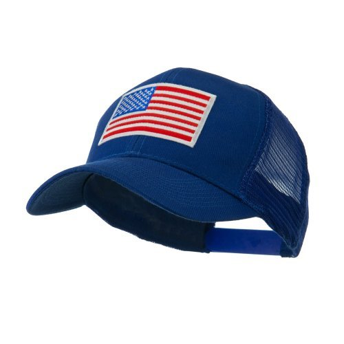 6 Panel Mesh American Flag White Patch Cap - Royal OSFM (American Trucker Hat)