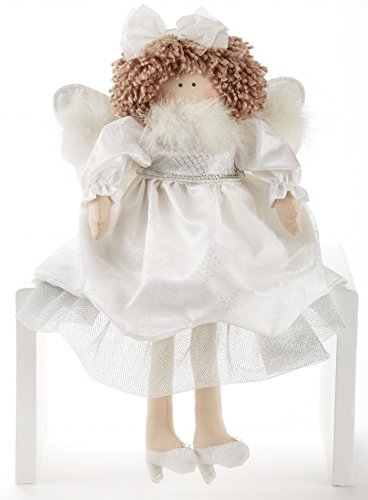 Angel Shelf Sitters - Delton Products Christmas Angel Shelf Sitter Doll, White Glitter, 17 Inches
