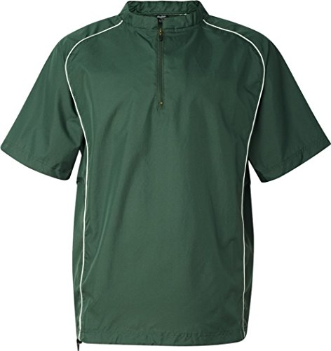 (Rawlings Short Sleeve Quarter-Zip Pullover Windshirt - 9702 - Forest - X-Large)