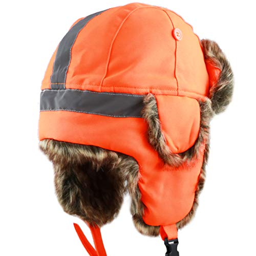 Faux Fur Safety Reflective Aviator Trapper Hat Snow Ski Trooper Winter Cap (Kids, Neon Orange)