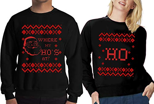 SR Christmas Holiday Ugly Sweater for Couples -Where My Ho`s at Shirt-L-HO ONLY]()