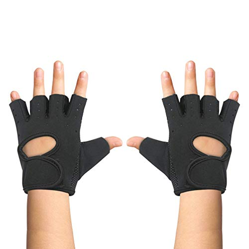 Luwint Kids Fingerless Workout Gloves - Anti-Slip Fitness Mitten for Children Cycling Yoga Weightlifting, 1 Pair (Black (10-15 Yrs Old))