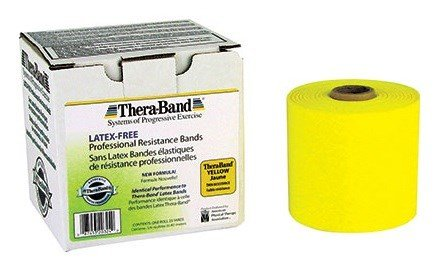 Hygienic/Theraband 11726 Professional Resistance Band, Yellow, Thin, 50 yd. Length, Latex Free (Pack of 4)