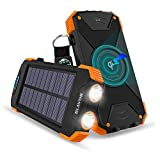 Qi Wireless Charging Portable Power Bank with Solar Panel and Flashlight, 10000mah Phone Charger with USB Type C Input for Samsung Galaxy s8/s9/s10, iPhone 8/8 Plus/x/xr/xs/xs max