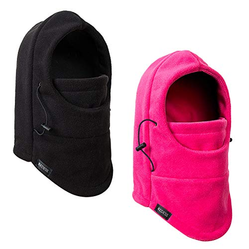 REDESS Kids Winter Windproof Hat, Unisex Children Heavyweight Balaclava, Ski Mask with Thick Warm Fleece Face Cover for Kids ?Black&Rose?