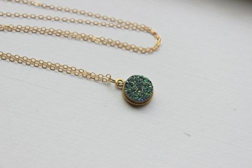 14k Gold Circle Pendant - Green Druzy Necklace Round Circle Pendant 18