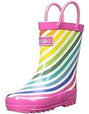 OAKI Kids Rubber Rain Boots Easy-On Handles
